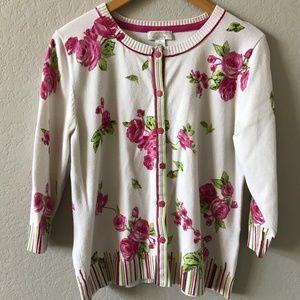 CHRISTOPHER & BANKS Floral Spring Button Cardigan